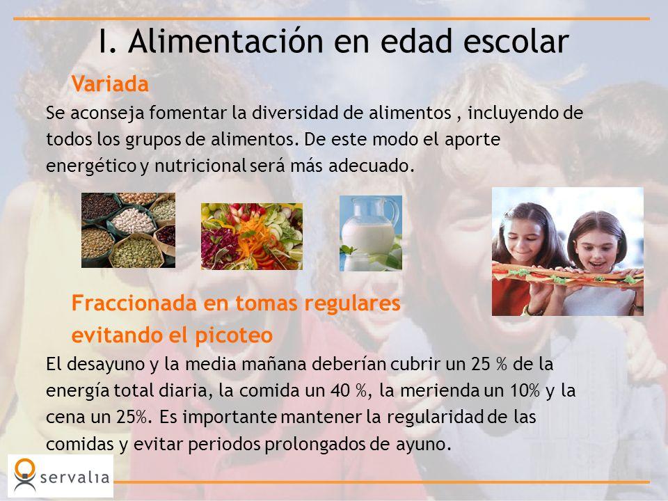 Variada Se aconseja fomentar la diversidad de alimentos, incluyendo de todos los grupos de alimentos. De este modo el aporte energético y nutricional