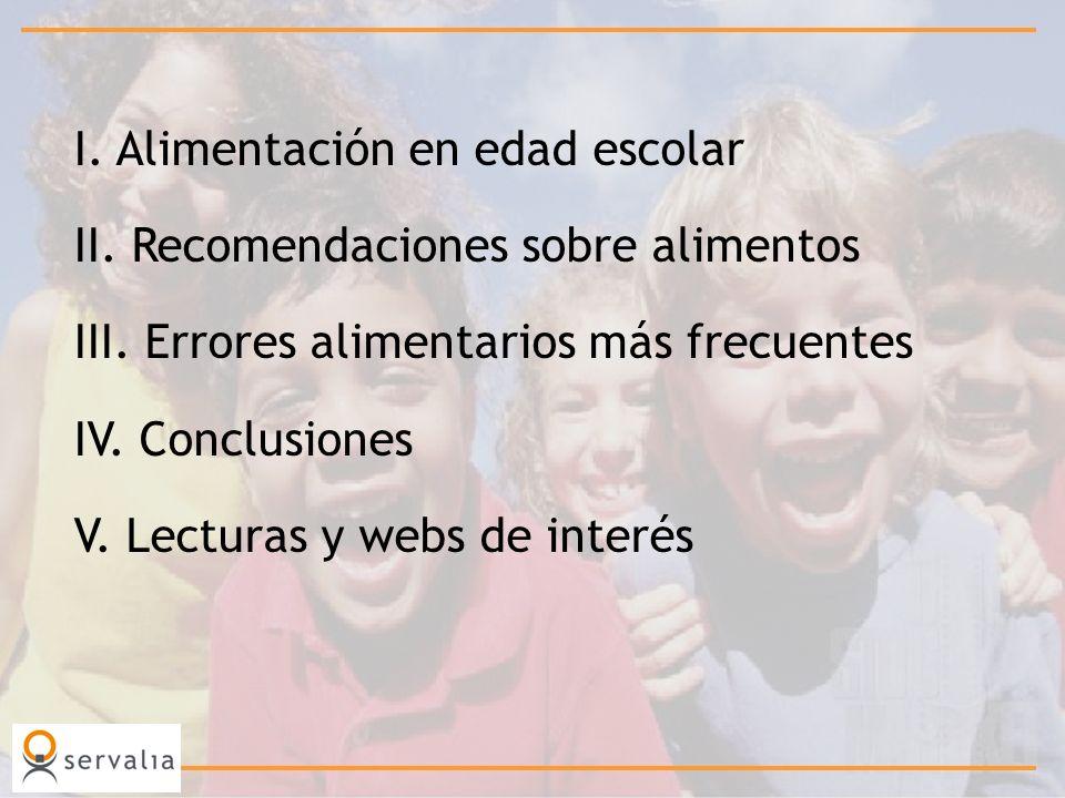 I. Alimentación en edad escolar II. Recomendaciones sobre alimentos III. Errores alimentarios más frecuentes IV. Conclusiones V. Lecturas y webs de in