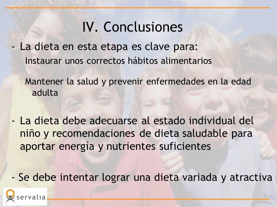 IV. Conclusiones -La dieta en esta etapa es clave para: Instaurar unos correctos hábitos alimentarios Mantener la salud y prevenir enfermedades en la
