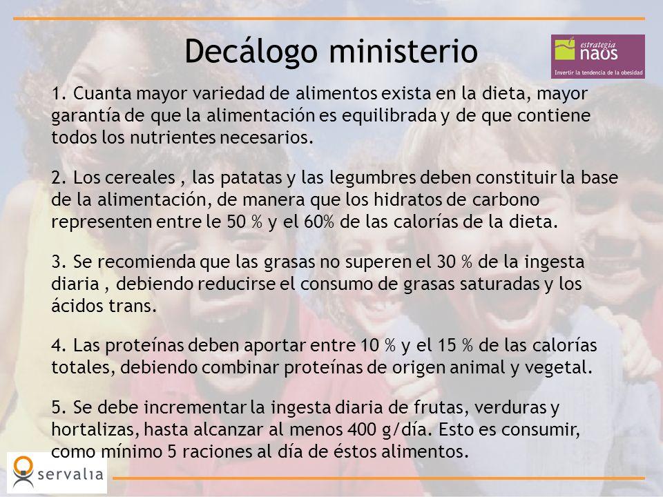 Decálogo ministerio 1. Cuanta mayor variedad de alimentos exista en la dieta, mayor garantía de que la alimentación es equilibrada y de que contiene t