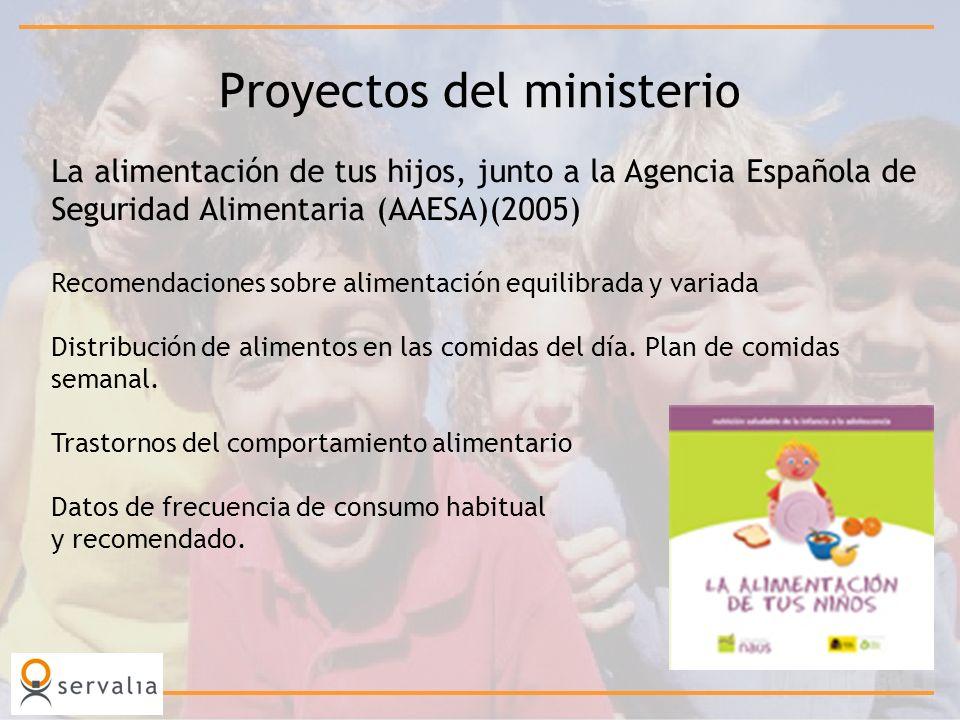 Proyectos del ministerio La alimentación de tus hijos, junto a la Agencia Española de Seguridad Alimentaria (AAESA)(2005) Recomendaciones sobre alimen