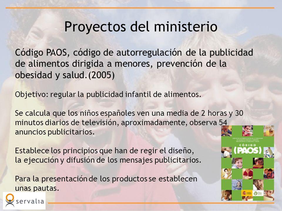 Proyectos del ministerio Código PAOS, código de autorregulación de la publicidad de alimentos dirigida a menores, prevención de la obesidad y salud.(2