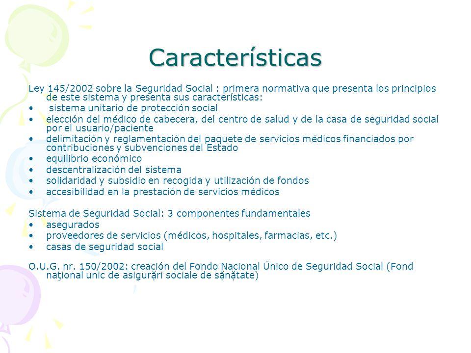Características Ley 145/2002 sobre la Seguridad Social : primera normativa que presenta los principios de este sistema y presenta sus características: