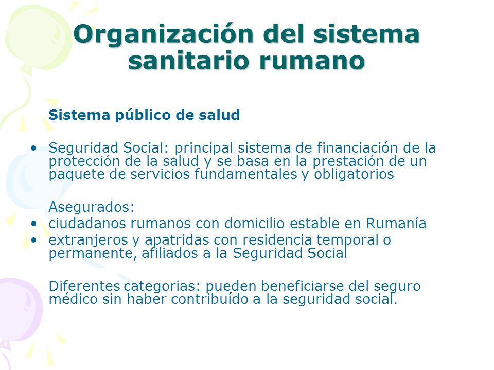 Organización del sistema sanitario rumano Sistema público de salud Seguridad Social: principal sistema de financiación de la protección de la salud y