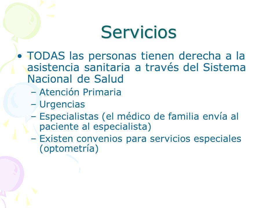 Servicios TODAS las personas tienen derecha a la asistencia sanitaria a través del Sistema Nacional de Salud –Atención Primaria –Urgencias –Especialis