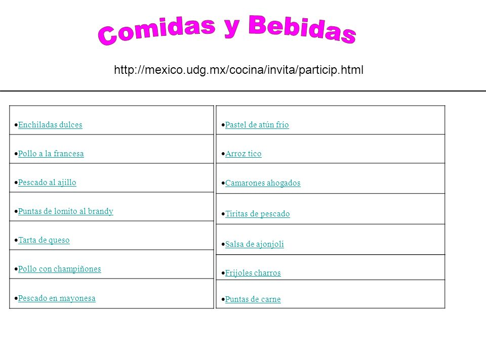 Ya nos enviaste tus recetas?? Las esperamos para publicarlas!!!! contacto@cocinamexicana.com.mx Enchiladas dulces Pollo a la francesa Pescado al ajill