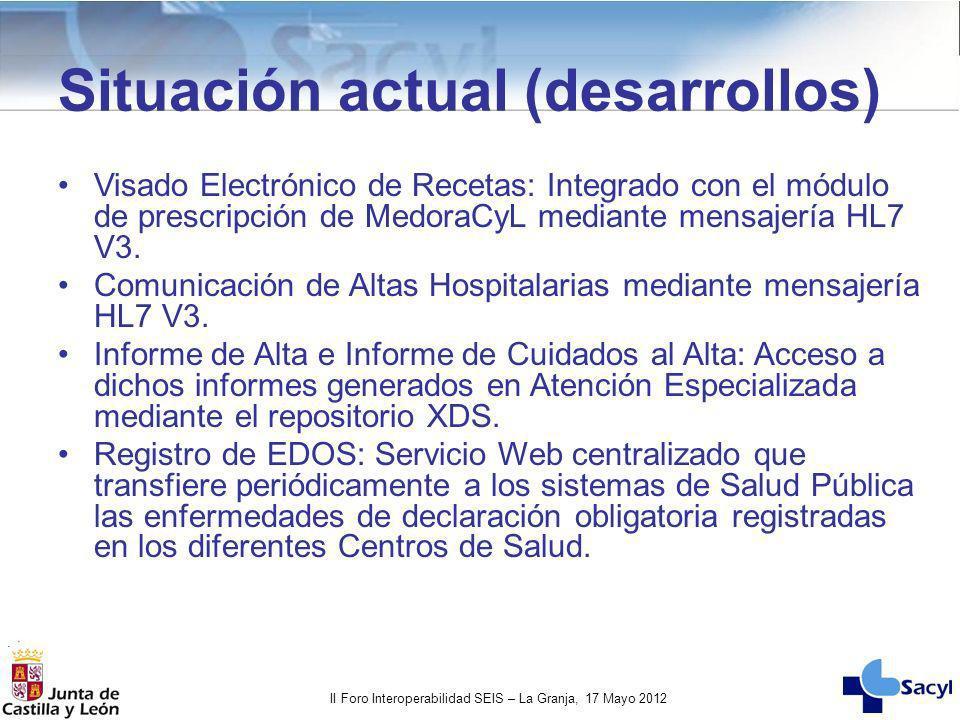 II Foro Interoperabilidad SEIS – La Granja, 17 Mayo 2012 Visado Electrónico de Recetas: Integrado con el módulo de prescripción de MedoraCyL mediante