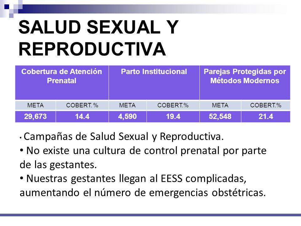 SALUD SEXUAL Y REPRODUCTIVA Cobertura de Atención Prenatal Parto InstitucionalParejas Protegidas por Métodos Modernos METACOBERT.