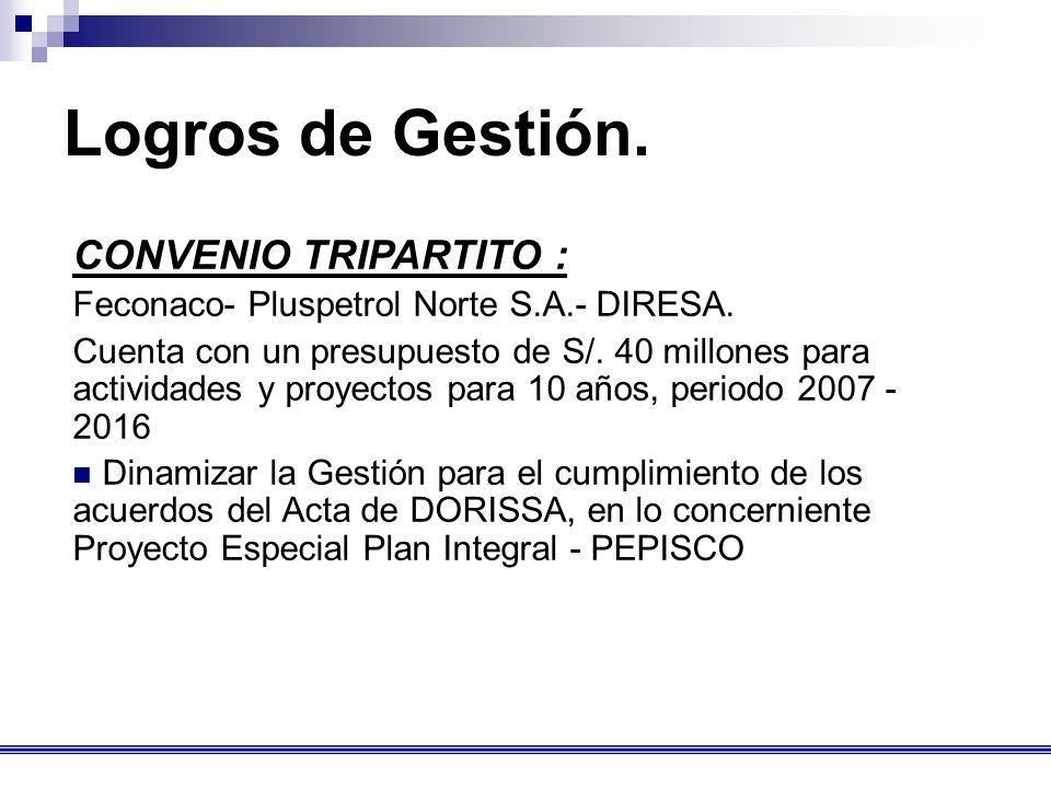 CONVENIO TRIPARTITO : Feconaco- Pluspetrol Norte S.A.- DIRESA.