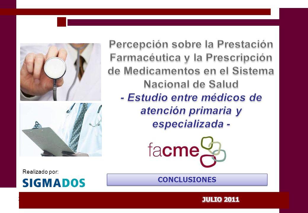 PERCEPCIÓN DE LA PRESTACIÓN FARMACÉUTICA Y LA PRESCRIPCIÓN DE MEDICAMENTOS EN EL SNS La Fundación de la Federación de Asociaciones Científico Médicas Españolas (FACME) ha promovido la encuesta Percepción de los médicos sobre la prestación farmacéutica y la prescripción de medicamentos en el Sistema Nacional de Salud y la formación para conocer la opinión de los médicos sobre las medidas que se están adoptando en algunas comunidades autónomas y a nivel estatal en este ámbito: En concreto, la encuesta ha recogido: - La opinión sobre el catálogo de medicamentos - Sobre la libertad de prescripción - La percepción de la libertad de prescripción - Actitudes respecto a las políticas de incentivos - Los criterios de prescripción - La responsabilidad en la formación médica continuada En la encuesta, desarrollada por SigmaDos y con significación estadística a nivel nacional, han participado 800 médicos de atención primaria y especializada.