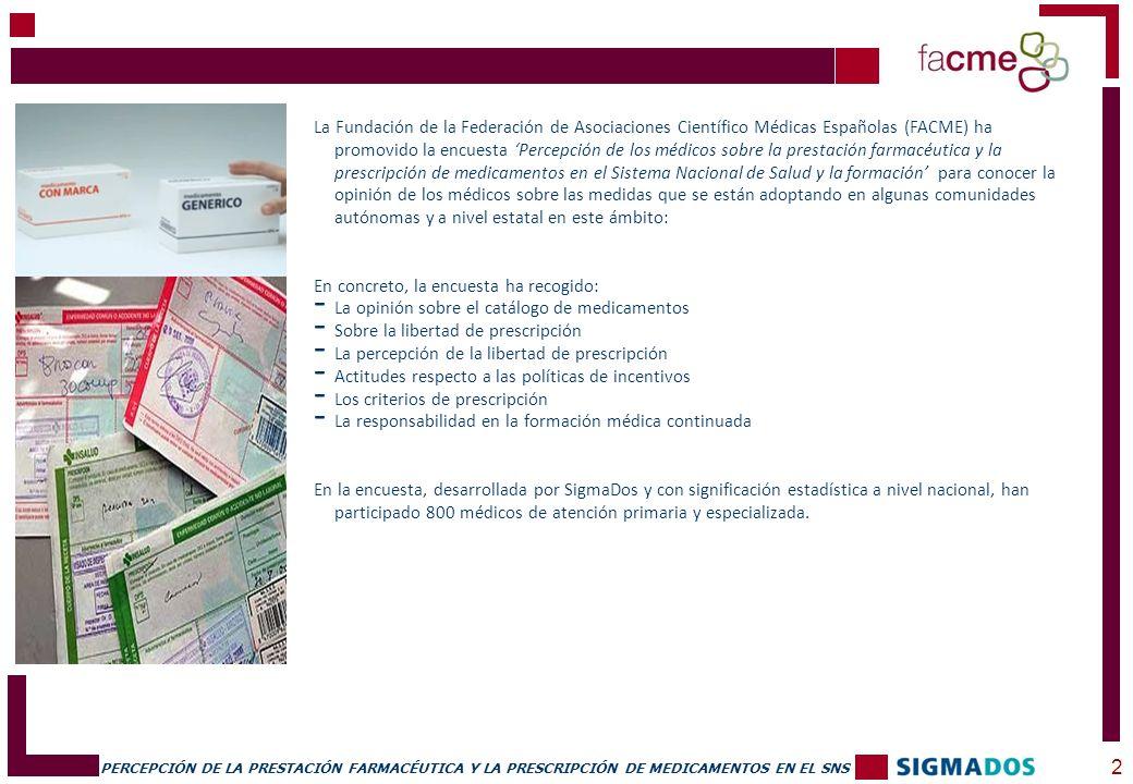 PERCEPCIÓN DE LA PRESTACIÓN FARMACÉUTICA Y LA PRESCRIPCIÓN DE MEDICAMENTOS EN EL SNS FICHA TÉCNICA 3 CERTIFICACIÓN DE CALIDAD: ISO 9001:2000 e ISO 20252:2006, acreditadas por BUREAU VERITAS.