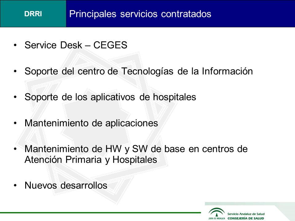 DRRI Principales servicios contratados Service Desk – CEGES Soporte del centro de Tecnologías de la Información Soporte de los aplicativos de hospitales Mantenimiento de aplicaciones Mantenimiento de HW y SW de base en centros de Atención Primaria y Hospitales Nuevos desarrollos