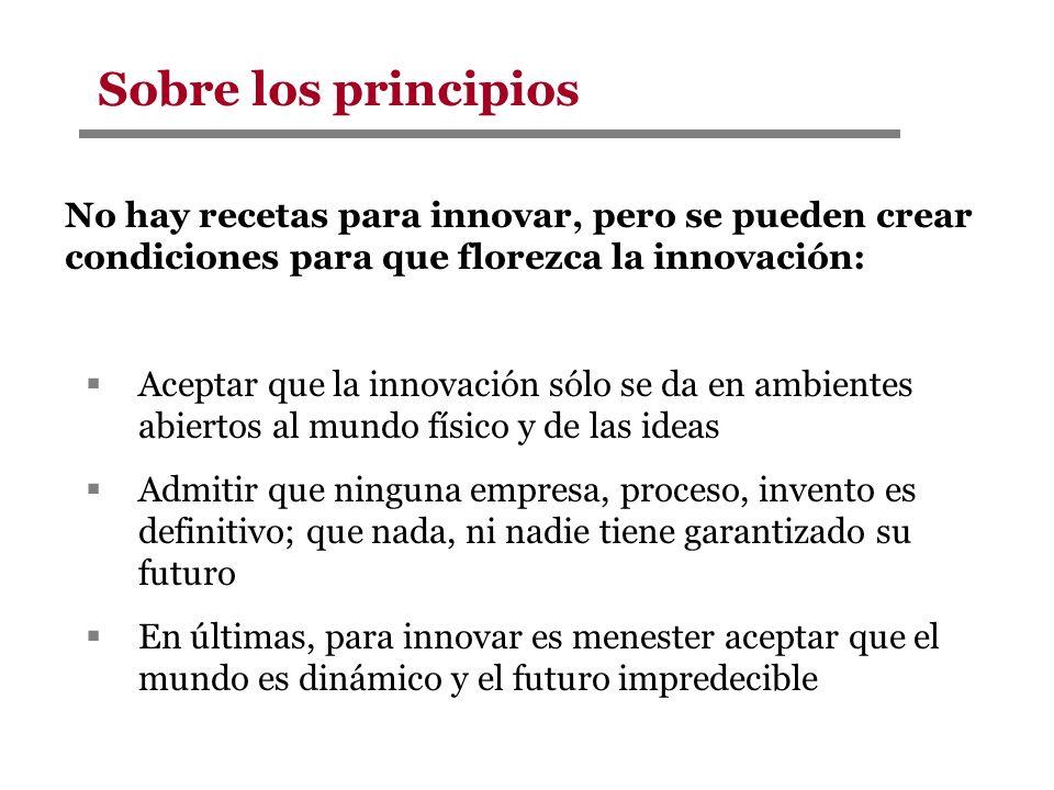 No hay recetas para innovar, pero se pueden crear condiciones para que florezca la innovación: Aceptar que la innovación sólo se da en ambientes abier