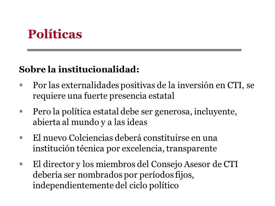 Políticas Sobre la institucionalidad: Por las externalidades positivas de la inversión en CTI, se requiere una fuerte presencia estatal Pero la políti