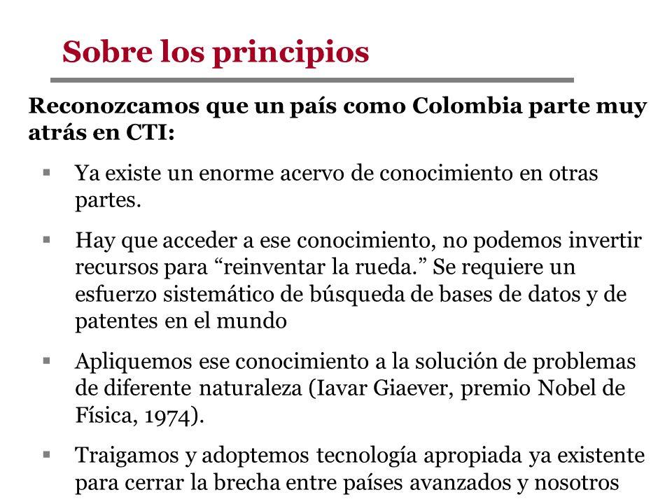 Reconozcamos que un país como Colombia parte muy atrás en CTI: Ya existe un enorme acervo de conocimiento en otras partes. Hay que acceder a ese conoc
