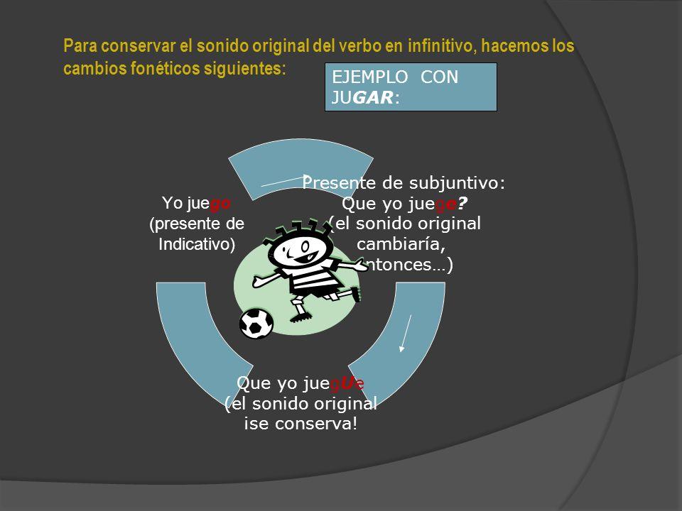 Los verbos que terminan en GAR (jugar, negar, cargar, llegar, etc.) Los verbos que terminan en CAR (tocar, colocar, arrancar, etc.) Los verbos que terminan en ZAR (cazar, alcanzar, rezar, etc.) CONSIDERACIONES ORTOGRÁFICAS IMPORTANTES PARA EL PRESENTE DE SUBJUNTIVO Algunos verbos necesitan ciertos cambios ortográficos GAR: gue (que yo llegue, que tu llegues, que él llegue, que nosotros lleguemos, que vosotros lleguéis, que ellos lleguen) CAR: que (que yo toque, que tú toques, que él toque, que nosotros toquemos, que vosotros toquéis, que ellos toquen) ZAR: ce (que yo alcance, que tú alcances, que él alcance, que nosotros alcancemos, que vosotros alcancéis, que ellos alcancen)
