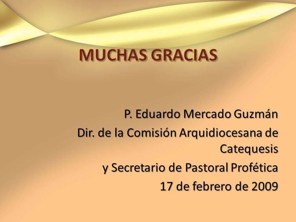 P. Eduardo Mercado Guzmán Dir. de la Comisión Arquidiocesana de Catequesis y Secretario de Pastoral Profética 17 de febrero de 2009