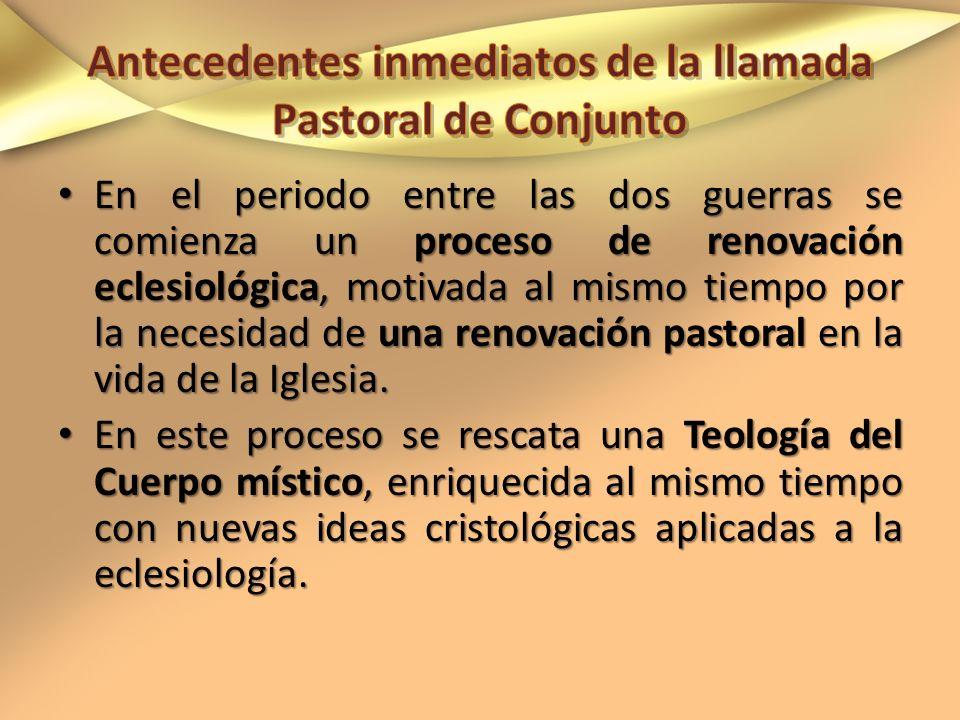 En el periodo entre las dos guerras se comienza un proceso de renovación eclesiológica, motivada al mismo tiempo por la necesidad de una renovación pa