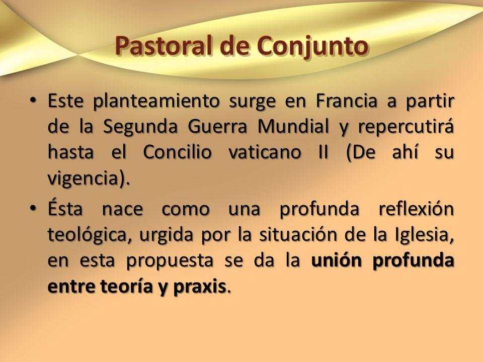 Este planteamiento surge en Francia a partir de la Segunda Guerra Mundial y repercutirá hasta el Concilio vaticano II (De ahí su vigencia). Este plant