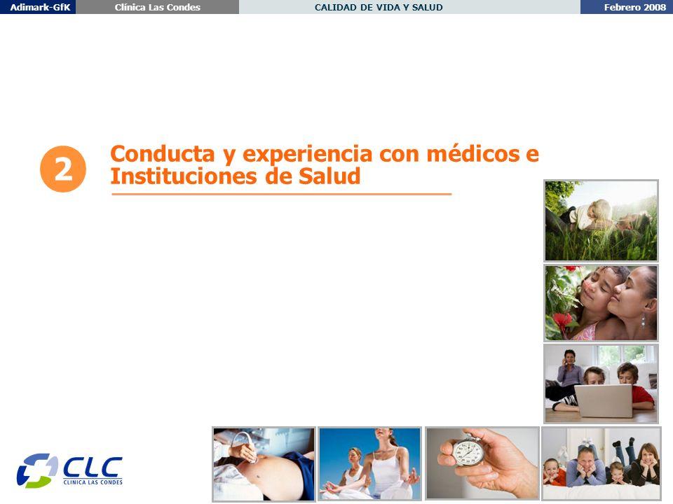 Febrero 2008 CALIDAD DE VIDA Y SALUDAdimark-GfKClínica Las Condes 2 Conducta y experiencia con médicos e Instituciones de Salud
