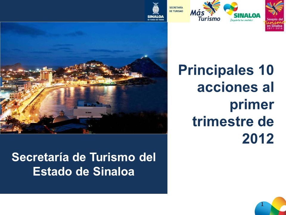 Secretaría de Turismo del Estado de Sinaloa 1 Principales 10 acciones al primer trimestre de 2012