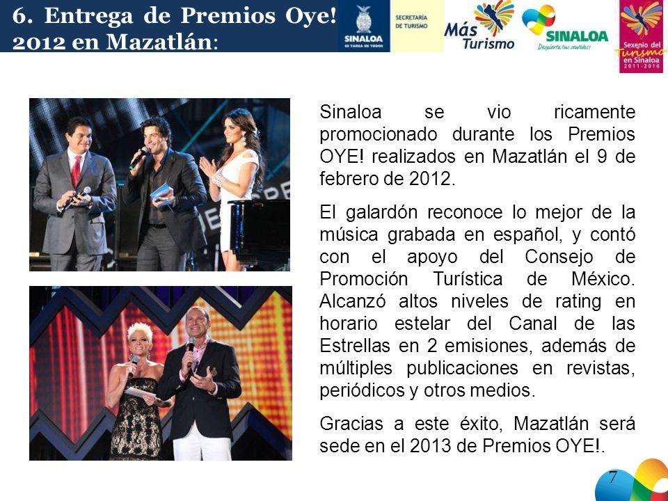 Sinaloa se vio ricamente promocionado durante los Premios OYE.