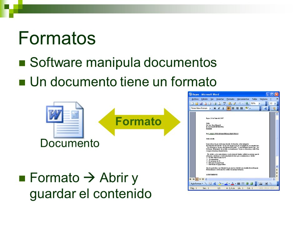 Software manipula documentos Un documento tiene un formato Formato Abrir y guardar el contenido Formatos Documento Formato