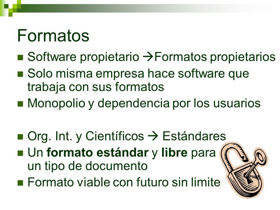 Formatos Software propietario Formatos propietarios Solo misma empresa hace software que trabaja con sus formatos Monopolio y dependencia por los usua