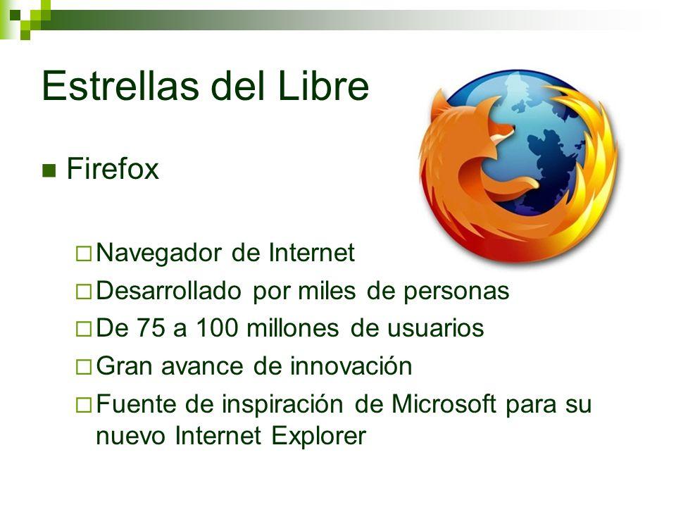 Estrellas del Libre Firefox Navegador de Internet Desarrollado por miles de personas De 75 a 100 millones de usuarios Gran avance de innovación Fuente