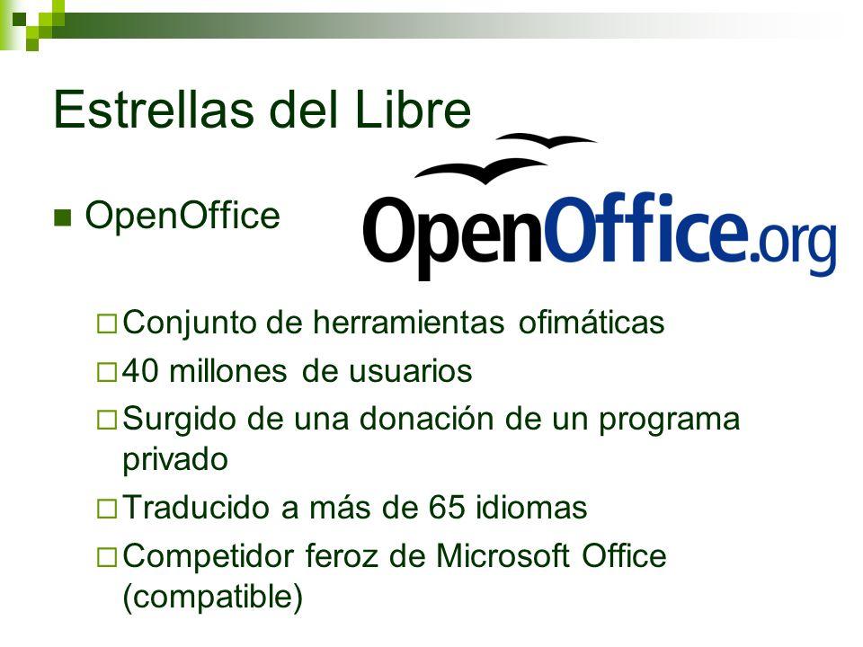 Estrellas del Libre OpenOffice Conjunto de herramientas ofimáticas 40 millones de usuarios Surgido de una donación de un programa privado Traducido a