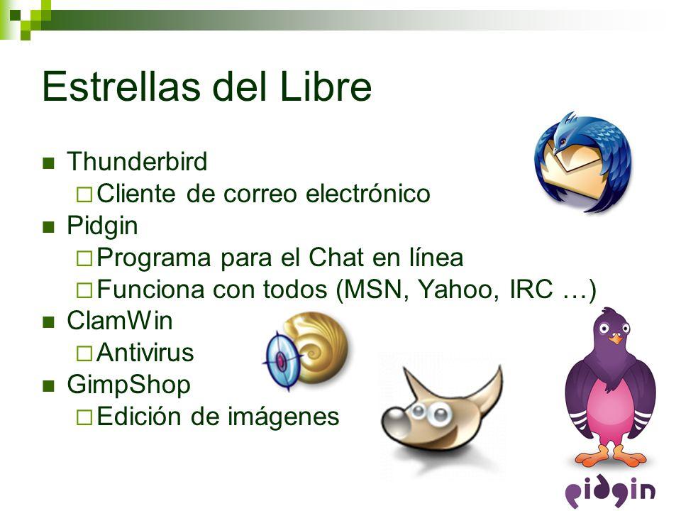 Estrellas del Libre Thunderbird Cliente de correo electrónico Pidgin Programa para el Chat en línea Funciona con todos (MSN, Yahoo, IRC …) ClamWin Ant