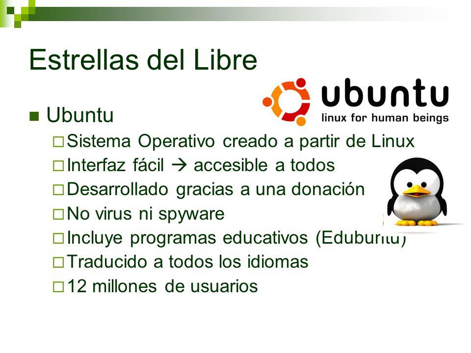 Estrellas del Libre Ubuntu Sistema Operativo creado a partir de Linux Interfaz fácil accesible a todos Desarrollado gracias a una donación No virus ni