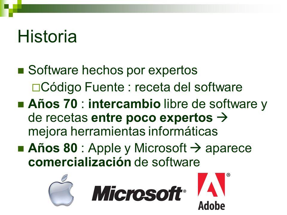 Historia Negocio de software : Copia prohibida Pagar para usar Código fuente (fabricación) secreto Comunidad expertos reacciona : Software desarrollado por varias personas Richard Stallman : software libre para todos Poco expertos Todo el Mundo