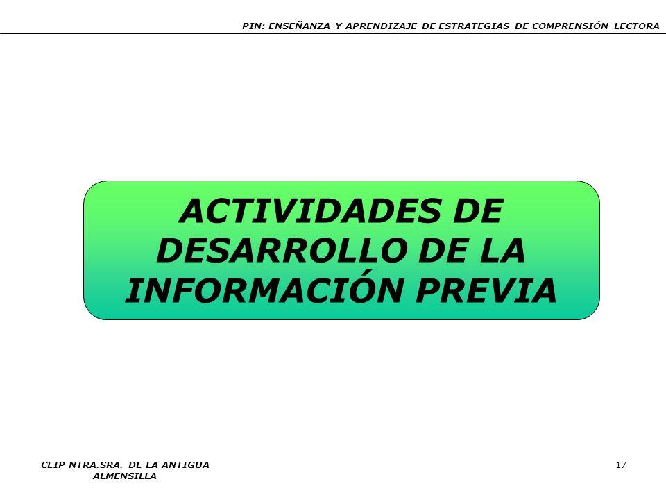 PIN: ENSEÑANZA Y APRENDIZAJE DE ESTRATEGIAS DE COMPRENSIÓN LECTORA CEIP NTRA.SRA. DE LA ANTIGUA ALMENSILLA 17 ACTIVIDADES DE DESARROLLO DE LA INFORMAC