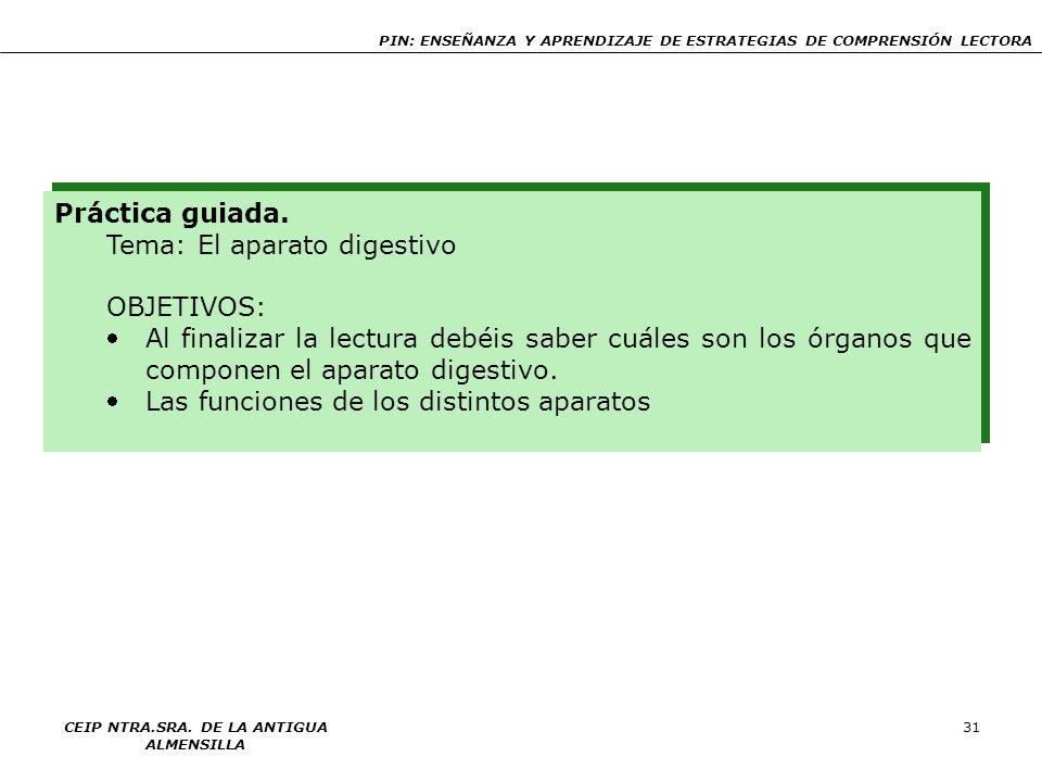 PIN: ENSEÑANZA Y APRENDIZAJE DE ESTRATEGIAS DE COMPRENSIÓN LECTORA CEIP NTRA.SRA. DE LA ANTIGUA ALMENSILLA 31 Práctica guiada. Tema: El aparato digest