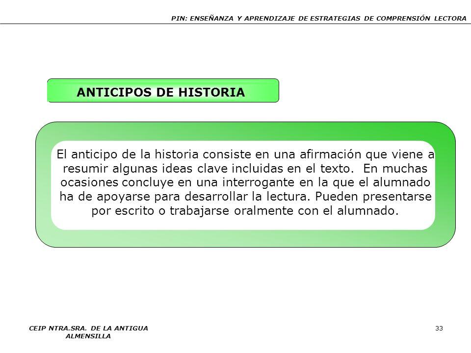 PIN: ENSEÑANZA Y APRENDIZAJE DE ESTRATEGIAS DE COMPRENSIÓN LECTORA CEIP NTRA.SRA. DE LA ANTIGUA ALMENSILLA 33 ANTICIPOS DE HISTORIA El anticipo de la