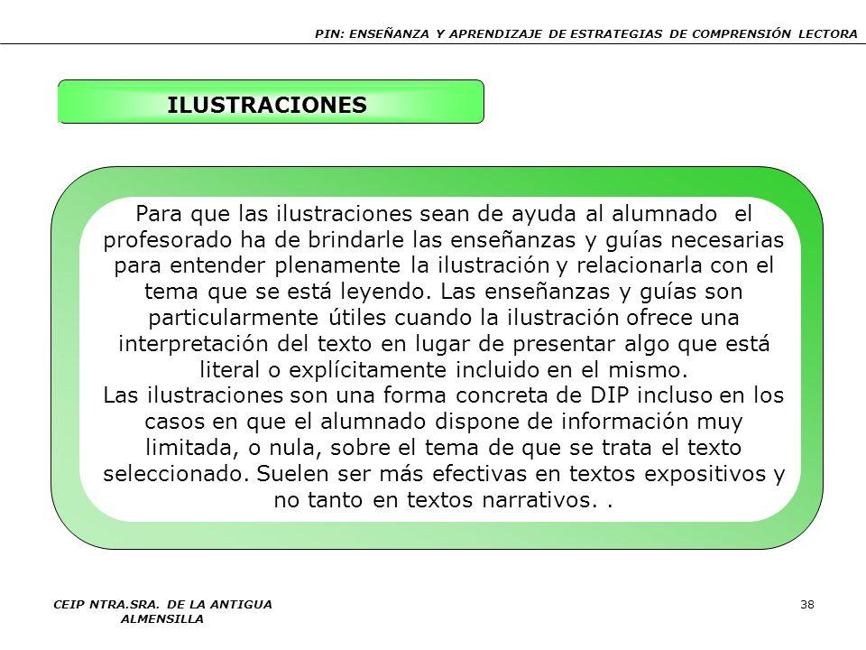 PIN: ENSEÑANZA Y APRENDIZAJE DE ESTRATEGIAS DE COMPRENSIÓN LECTORA CEIP NTRA.SRA. DE LA ANTIGUA ALMENSILLA 38 ILUSTRACIONES Para que las ilustraciones