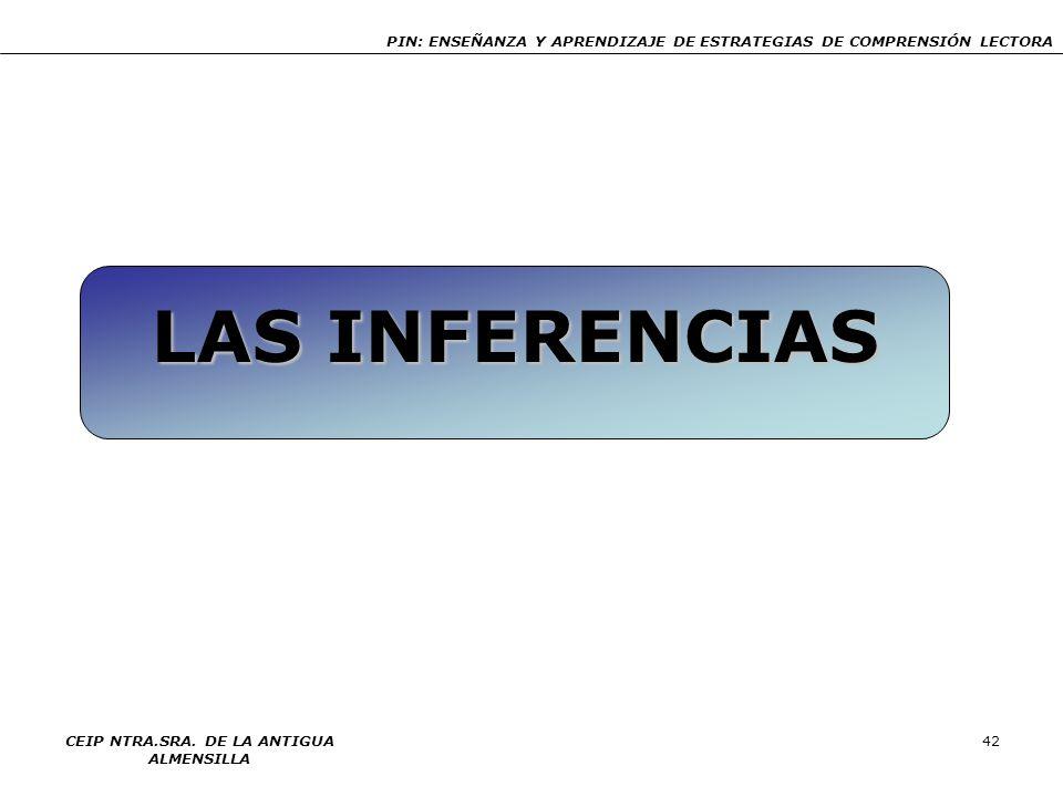 PIN: ENSEÑANZA Y APRENDIZAJE DE ESTRATEGIAS DE COMPRENSIÓN LECTORA CEIP NTRA.SRA. DE LA ANTIGUA ALMENSILLA 42 LAS INFERENCIAS