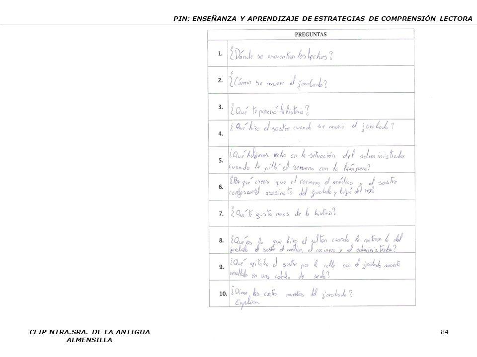 PIN: ENSEÑANZA Y APRENDIZAJE DE ESTRATEGIAS DE COMPRENSIÓN LECTORA CEIP NTRA.SRA. DE LA ANTIGUA ALMENSILLA 84