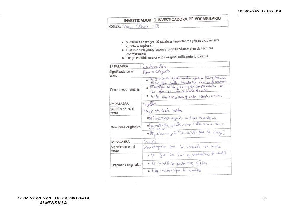 PIN: ENSEÑANZA Y APRENDIZAJE DE ESTRATEGIAS DE COMPRENSIÓN LECTORA CEIP NTRA.SRA. DE LA ANTIGUA ALMENSILLA 86