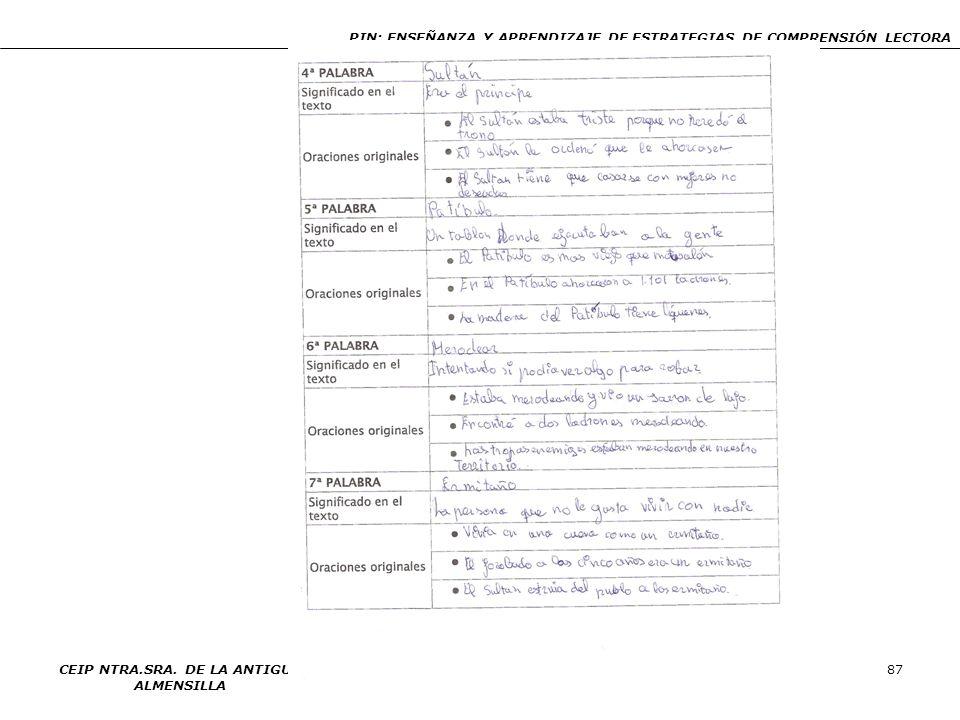 PIN: ENSEÑANZA Y APRENDIZAJE DE ESTRATEGIAS DE COMPRENSIÓN LECTORA CEIP NTRA.SRA. DE LA ANTIGUA ALMENSILLA 87