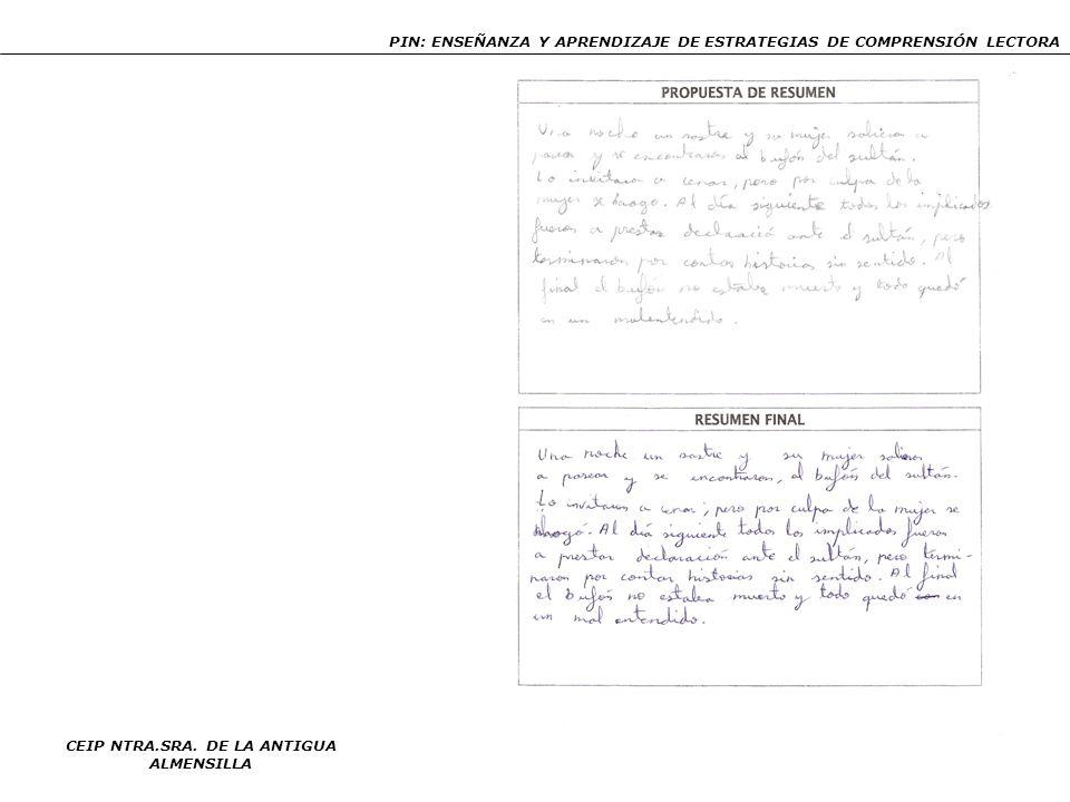 PIN: ENSEÑANZA Y APRENDIZAJE DE ESTRATEGIAS DE COMPRENSIÓN LECTORA CEIP NTRA.SRA. DE LA ANTIGUA ALMENSILLA 92