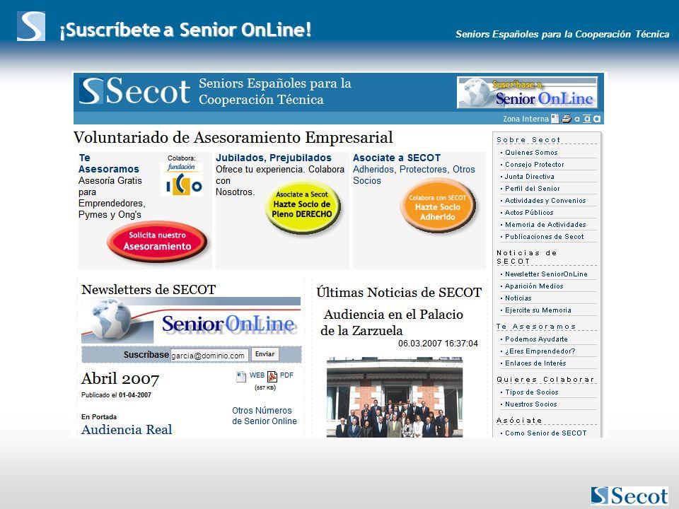Seniors Españoles para la Cooperación Técnica ¡Suscríbete a Senior OnLine! garcia@dominio.com