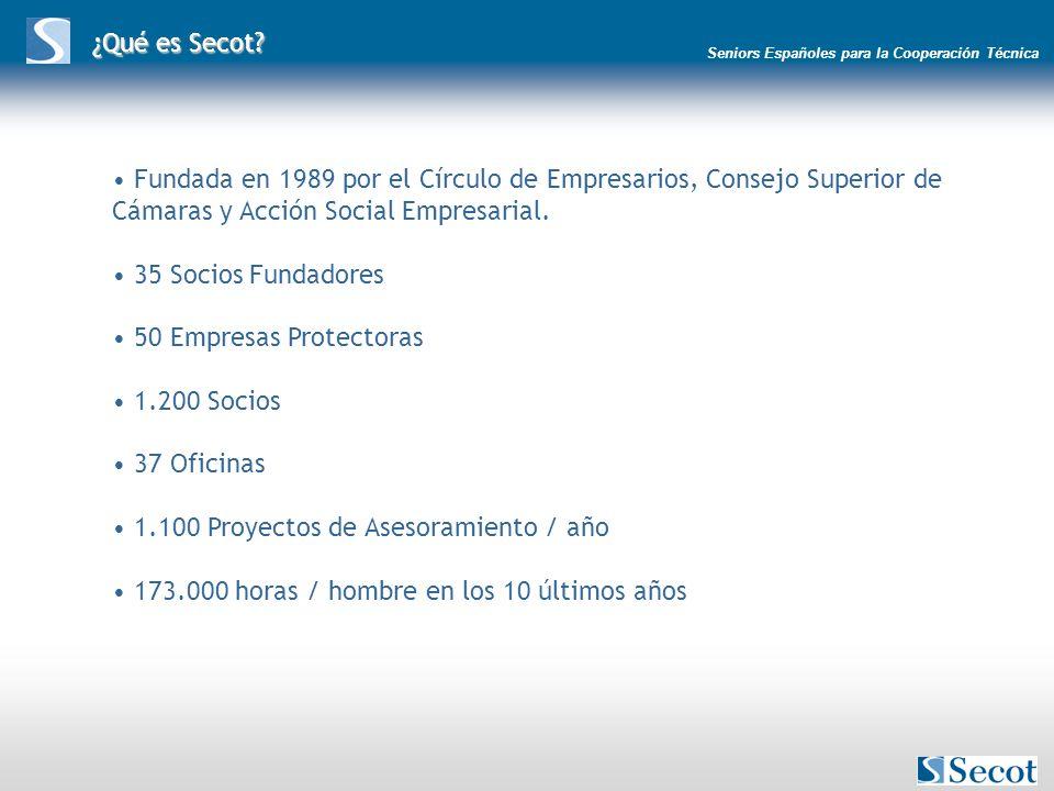 Seniors Españoles para la Cooperación Técnica ¿Qué es Secot? Fundada en 1989 por el Círculo de Empresarios, Consejo Superior de Cámaras y Acción Socia