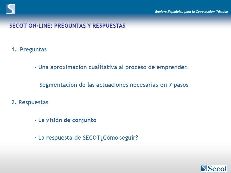 Seniors Españoles para la Cooperación Técnica SECOT ON-LINE: PREGUNTAS Y RESPUESTAS 1.Preguntas - Una aproximación cualitativa al proceso de emprender