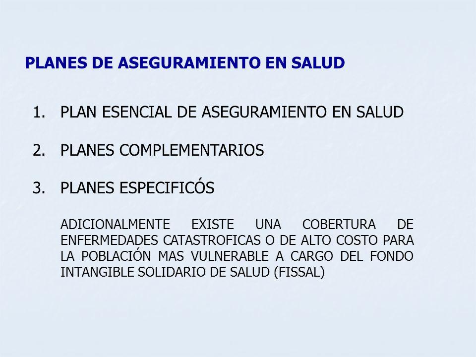 PLANES DE ASEGURAMIENTO EN SALUD 1.PLAN ESENCIAL DE ASEGURAMIENTO EN SALUD 2.PLANES COMPLEMENTARIOS 3.PLANES ESPECIFICÓS ADICIONALMENTE EXISTE UNA COB