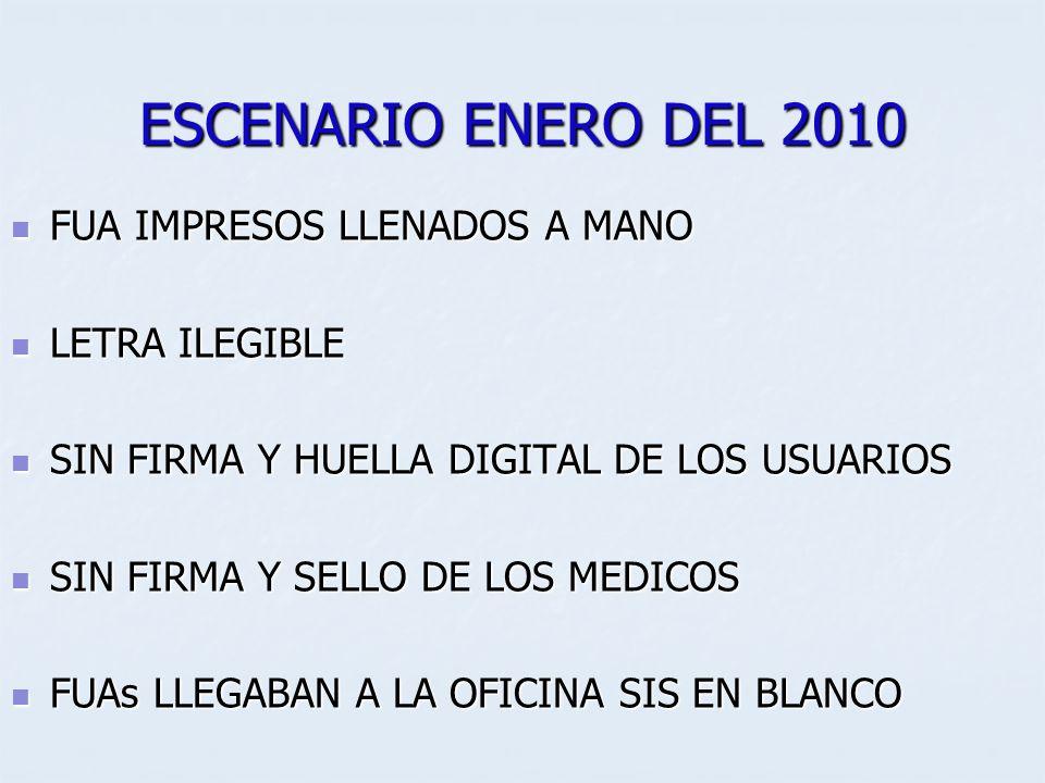 ESCENARIO ENERO DEL 2010 FUA IMPRESOS LLENADOS A MANO FUA IMPRESOS LLENADOS A MANO LETRA ILEGIBLE LETRA ILEGIBLE SIN FIRMA Y HUELLA DIGITAL DE LOS USU