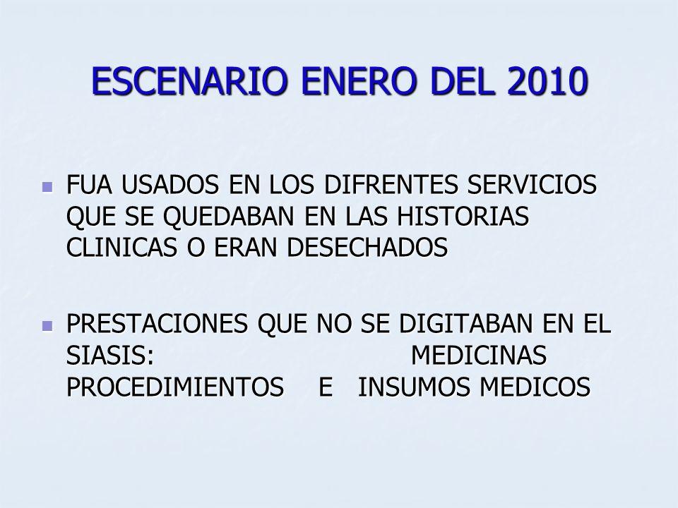 ESCENARIO ENERO DEL 2010 FUA USADOS EN LOS DIFRENTES SERVICIOS QUE SE QUEDABAN EN LAS HISTORIAS CLINICAS O ERAN DESECHADOS FUA USADOS EN LOS DIFRENTES