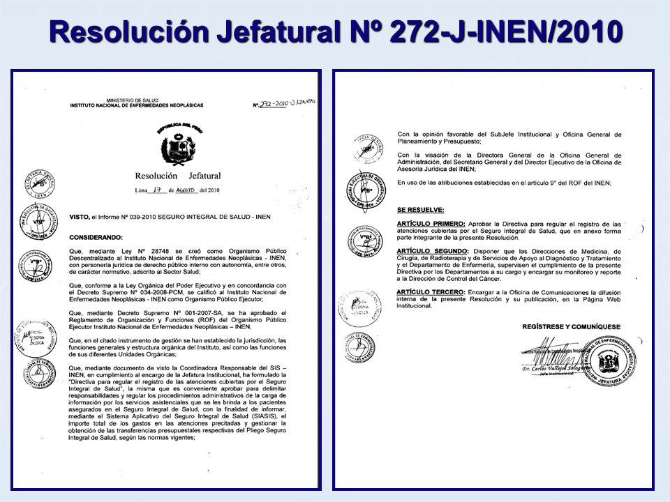 Resolución Jefatural Nº 272-J-INEN/2010