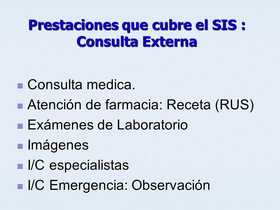 Prestaciones que cubre el SIS : Consulta Externa Consulta medica. Consulta medica. Atención de farmacia: Receta (RUS) Atención de farmacia: Receta (RU
